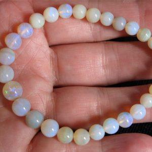 Andamooka 6-8mm round 41cts opal bracelet 7801