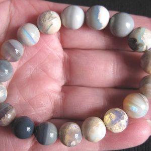 Lightning Ridge 10-12mm round 103cts opal bracelet 5606