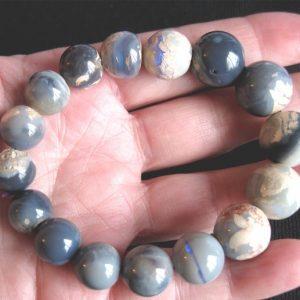 Lightning Ridge some Blacks 12-15mm round 186cts opal bracelet 5685