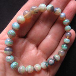 Mintubi Black Crystal Gem 8mm round opal bracelet $50/ct 60cts opal bracelet 9181